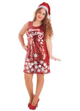 Disfraz de Merry Christmas de Lentejuelas para mujer