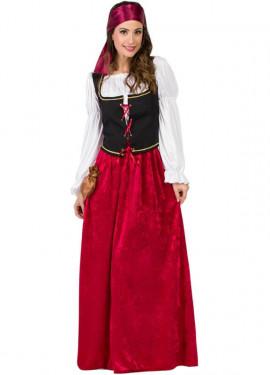 Disfraz de Mesonera Medieval Granate para mujer