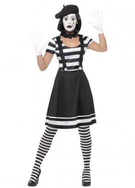 Disfraz de Mimo blanco y negro para mujer