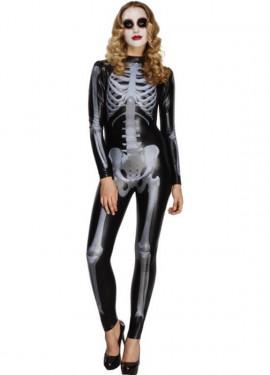 Disfraz de Miss Esqueleto Mono negro para mujer