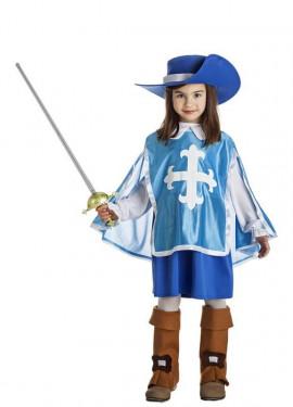 Disfraz de Mosquetera azul para niña
