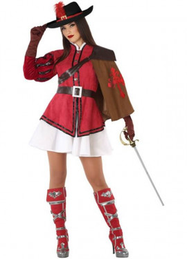 Disfraz de Mosquetera Roja para mujer