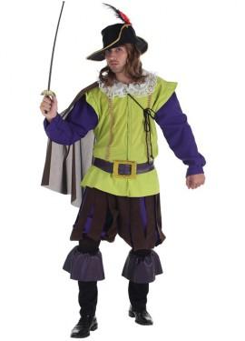 Disfraz de Mosquetero verde para hombre
