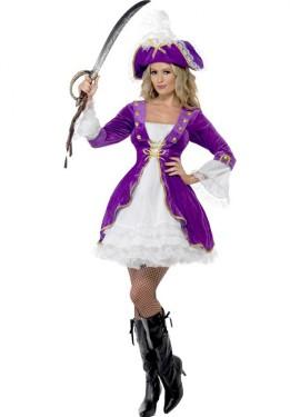 Disfraz de Mujer Pirata Belleza Morado