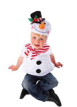 Disfraz de Muñeco de nieve para niños de 3 a 5 años