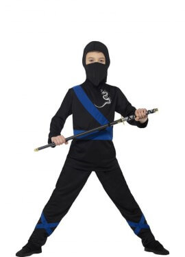 Disfraz de Ninja Negro y Azul para niño