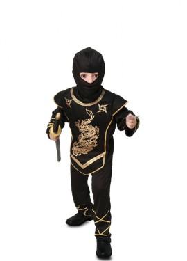 Disfraz de Ninja negro y dorado
