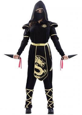 Disfraz de Ninja Negro y Dorado para mujer