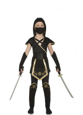 Costume da Ninja nero e oro per una Bambina