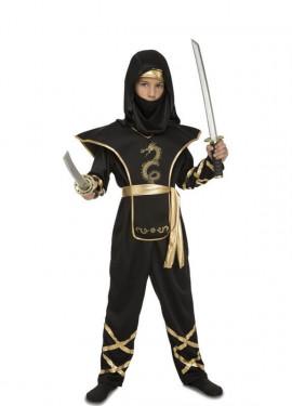 Costume da ninja nero e oro per un ragazzo