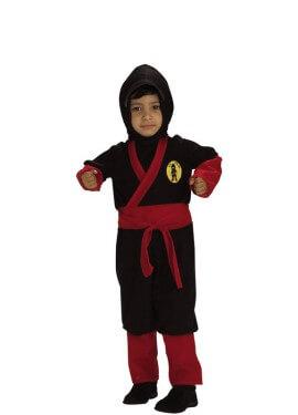 Costume da ninja nero e rosso per un ragazzo