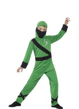 Disfraz de Ninja Verde y Negro para niño