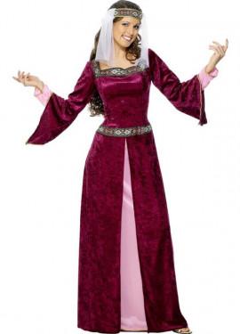 Disfraz de Noble Medieval Borgoña para mujer