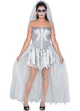 Disfraz de Novia Cadáver gris para mujer