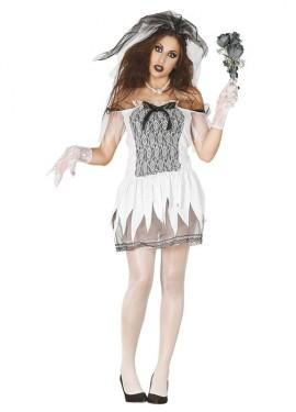 Disfraz de Novia Cadáver vestido corto para mujer