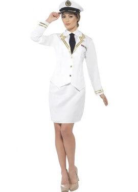 Disfraz de Oficial de la Marina Blanco para mujer