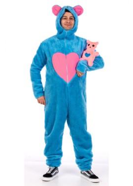 Disfraz de oso azul con peluche para hombre