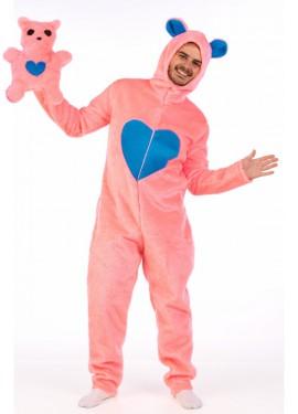 Disfraz de oso rosa con peluche para hombre
