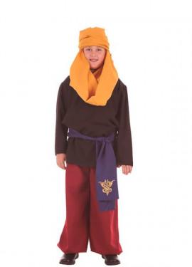 Disfraz de Paje con Fajín Azul para niños