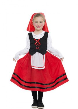 Disfraz de Pastorcita con falda roja para niña