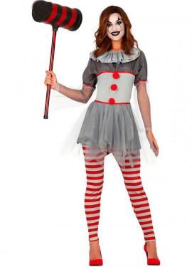 Costume da Pagliaccia del terrore grigia per donna