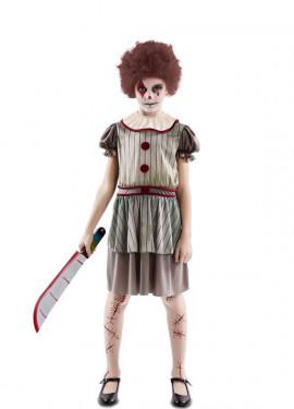 Disfraz de Payasa del Terror para niña