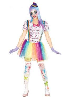 Disfraz de Payasa Multicolor con Tutú para mujer