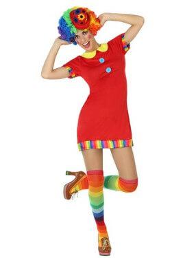 Disfraz de Payasa rojo para mujer