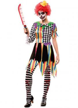 Disfraz de Payasa Siniestra Multicolor para mujer