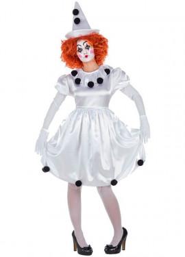 Disfraz de Payasita Pierrot para mujer