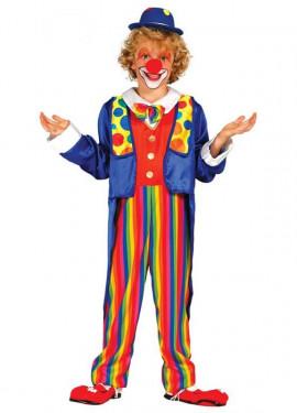 Disfraz de Payaso a rayas multicolores para niño