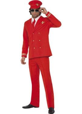 Disfraz de Piloto de Avión rojo para hombre