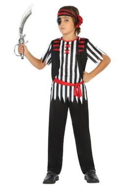Disfraz de Pirata a rayas blanquinegras para niño