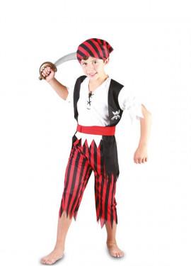 Disfraz de Pirata a Rayas rojo y negro para niño