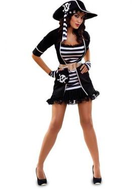 Disfraz de Pirata blanco y negro para mujer
