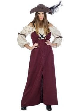 Disfraz de Pirata Burdeos para mujer