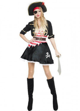 Disfraz de Pirata Casaca Negra para mujer