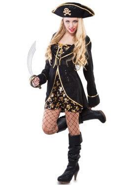 Disfraz de Pirata con Calaveras para mujer