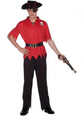 Costume da pirata rosso per uomo