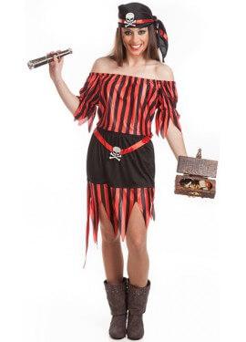 Déguisement Pirate Rouge et Noire pour femme