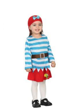 Disfraz de Piratita con Loro para bebé