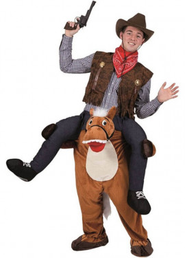 Costume da cowboy montando a cavallo per uomo