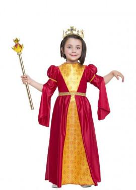 Disfraz de Princesa Medieval rojo y dorado para niña