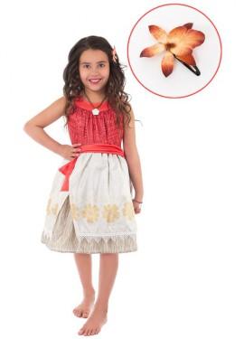 Disfraz de Princesa Polinesia con Flor para niña