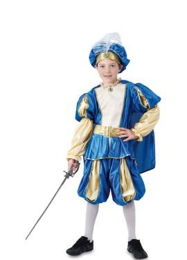 Disfraz de Príncipe Medieval azul y dorado para niño