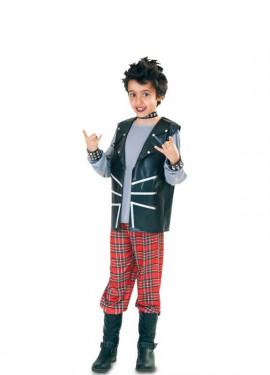 Disfraz de Punk a cuadros escoceses para niño