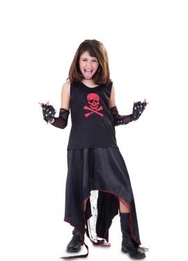 Disfraz de Punk con calavera para niña