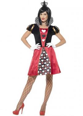 Disfraz de Reina de Corazones corto para mujer