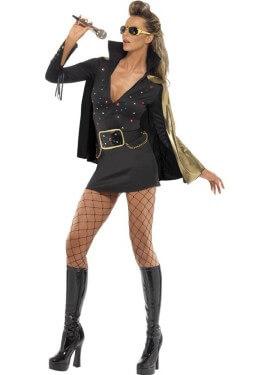 Disfraz de Reina del Rock Negro para mujer