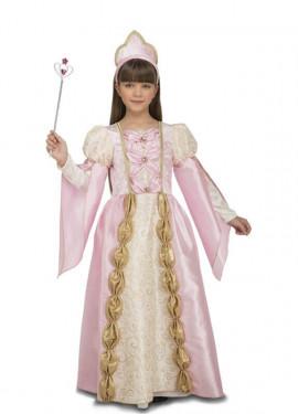 Disfraz de Reina Medieval Rosa para niña